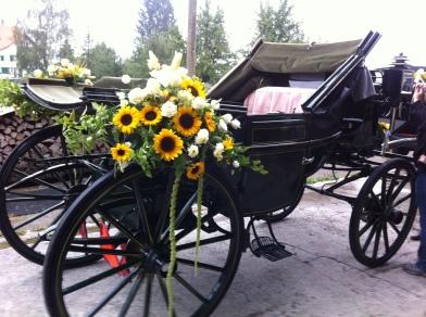 Blumen für Pferdekutsche